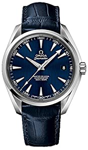 Omega Aqua Terra Blue Dial Blue Alligator Leather Mens Watch 23113422103001