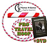 Adult Weighted Hula Hoop (White/UV Pink) +Hooping DVD! Large Travel Hula Hoops For Dance, Fitness & Exercise!