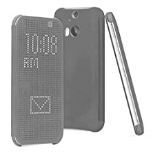 buy Htc One M9+ Case, Htc One M9 Plus Case Anoke@ Dey Dot Luxury Flip Slim Dot View Cover Case For Htc One M9 Plus / M9+ (Dot Grey)