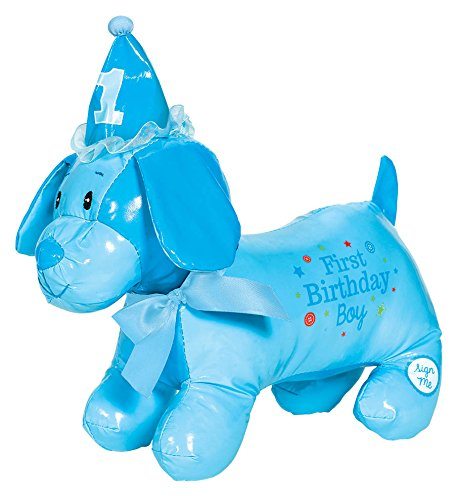 Little Buddy Boys' 1st Birthday Party Autograph Puppy , Blue, Vinyl , 12 1/2
