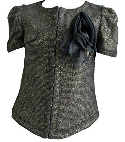 Patrizia Pepe Giacca Black Gold Con Applicazione di spilla floreale lato sinistro Size 44 Made In Italy