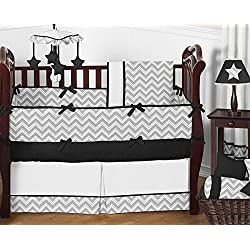 Sweet Jojo Designs Gray and Black Chevron Zig Zag Unisex Baby Bedding 9pc Girl or Boy Crib Set