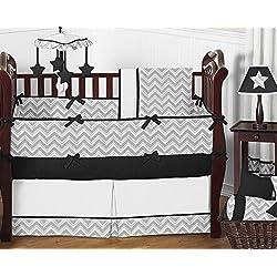 Sweet Jojo Designs Gray and Black Chevron Zig Zag Unisex Baby Bedding 9pc Girl or Boy Crib Set