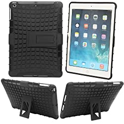Rugged Dual Hybrid Rubberized Defender Stand Cover Case for Apple iPad Air 5th Gen + Bonus DMG Wristband