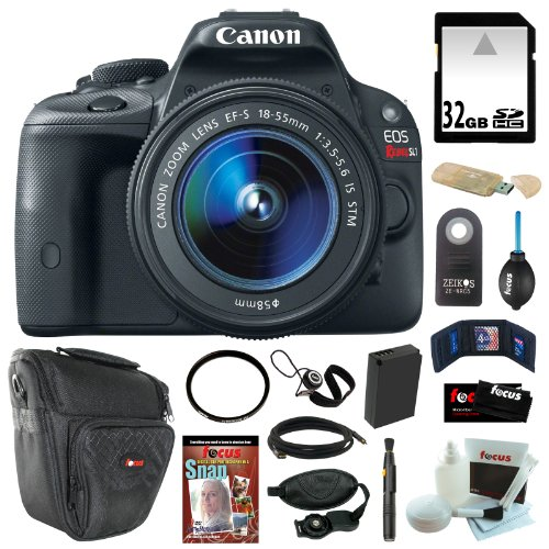 Canon Eos Rebel Sl1 18Mp Digital Slr With 18-55Mm Ef-S Is Stm Lens + 32Gb Sdhc + Tiffen Uv Filter + Extra Lp-E12 Battery + Card Reader + Mini Hdmi Cable + Remote Control + Accessory Kit