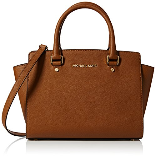Michael Kors Selma Saffiano Leather Medium, Borsa Tote Donna, Marrone (Dark Caramel), Taglia Unica