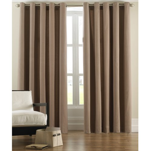 BEIGE LATTE PLAIN COTTON RING TOP EYELET FULLY LINED CURTAINS 90 x 90