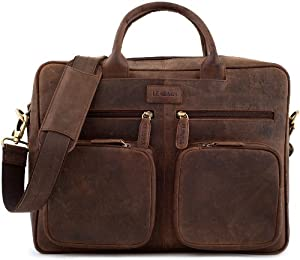 "LEABAGS - Unisex Leather Briefcase ""DALLAS"" Retro Vintage Style Genuine Buffalo Leather Unisex Messenger College Office Laptop Bag"