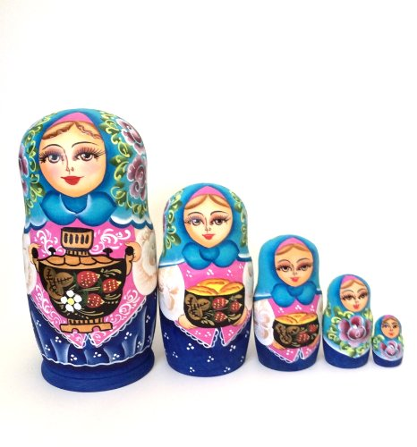 Russian Nesting Doll Princess Hand Painted 5 Piece Set Buyrussiangifts