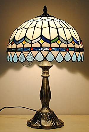 12 Inch Sky Blue Tiffany Table Lamps Bedside Lamp Bedroom Lamp Study Bedroom Lamp