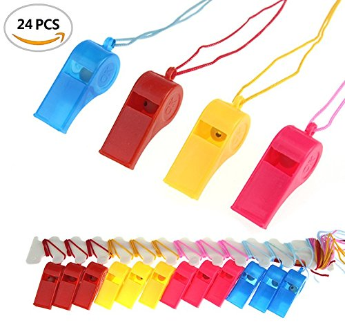 BeautyMood 24Pcs Neon Plastic Whistle Necklaces on Nylon Braided Cord (Whistle Plastic compare prices)