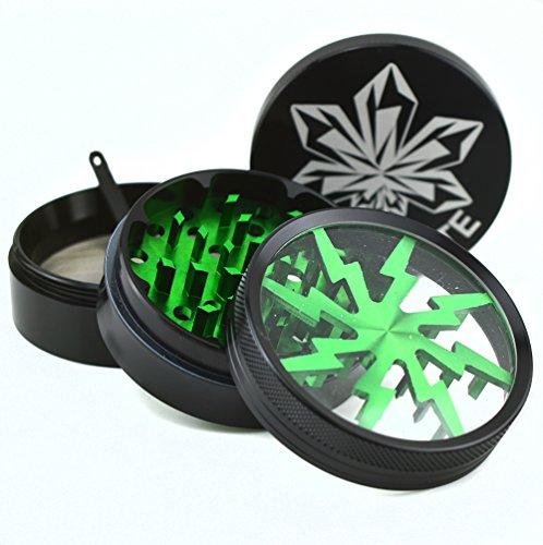 Kryptonite-Grinders-Large-Herb-Tobacco-Spice-Weed-Grinder-Four-Piece-Clear-Top-with-Pollen-Catcher-Lightning-Grinder-Premium-Grade-Aluminum-25-Black-Envy-Green