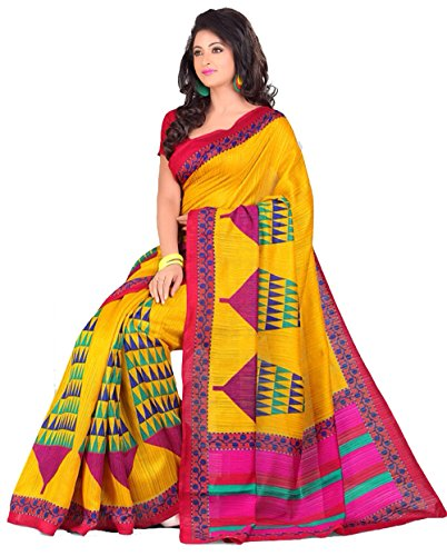Samskruti Sarees  Women Fancy Yellow Raw Silk Saree for Women (1509)