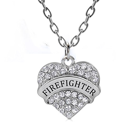 Heart Firefighter Pendant Necklace Women Girl Silver Jewelry Gift Charm White Crystal (Firefighter Girls)