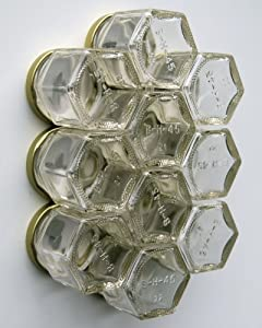 DIY HEX 10 GOLD: Magnetic Spice Rack (Includes 10 EMPTY Hexagonal Glass Jars, Magnetic... by Gneiss Spice