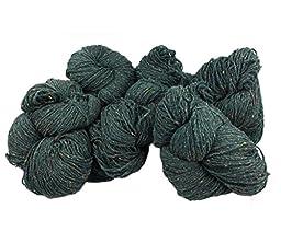 Aran Fleck Knitting Yarn Green Fleck Irish Made Six Hanks