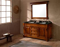 "Hot Sale James Martin Furniture 60"" Oak Bosco Double Sink Bathroom Vanity w/ Black Granite Top"