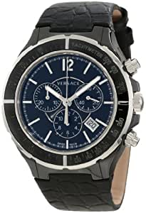 Versace Men's 28CCS9D008 S009 Dv One Black Ceramic Case with Stainless Steel Tachymeter Bezel Black Dial Chronograph Date Black Leather Watch