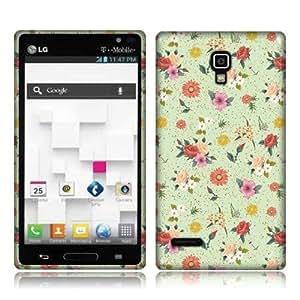 NextKin LG Optimus L9 P769 Flexible Slim Silicone TPU Skin Gel Soft Protector Cover Case - Colorful Flowers on Sea Foam Pattern