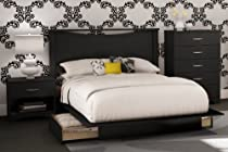 Hot Sale South Shore Bedroom Set Step One Collection, Black, 4-Piece