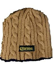 Alcohol Beer – Blue Tan Cable Knit Ribbed Striped Beanie Cap Hat