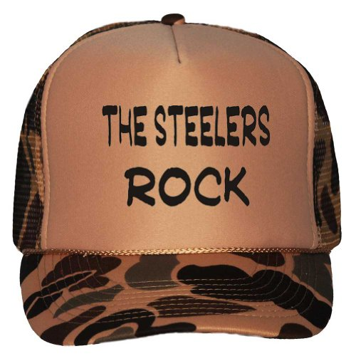 The Steelers Rock Adult Brown Camo Mesh Back Hat / Baseball Cap