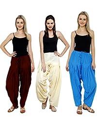 Pistaa Combo Of Womens Solid Cotton Combo Cream, Dark Green And Yellow Full Ethnic Punjabi Patiala Salwar Bottom...