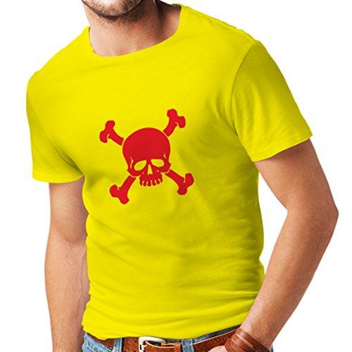 N4059 T-shirt da uomo Teschi incrociate segno di avvertimento (Small Giallo Rosso)