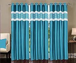 Home Elite Eyelet 2 Piece Jacquard Door Curtain Set - 7feet, Multicolor