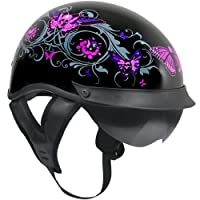 Outlaw T-72 Dual-Visor Glossy Motorcycle Half Helmet with Graphics of Flowers a - Small from Outlaw Helmets