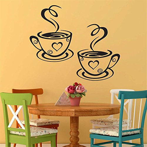 """Money Tree Doubles Coffee Cups Wall Stickers PVC Removable Home Living Room Decoration Wall Decal Wallpaper 12.2x7.4"""""""