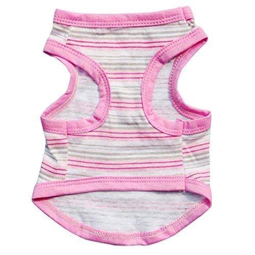 Ouneed® Ouneed® Gravitazionale Onda Banda Del Cucciolo Dell'Animale Domestico Del Cane Del Gatto Dei Vestiti Di Compleanno Vest T Shirt (Rosa, XS)