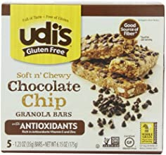 Udi's Gluten Free Antioxidant Granola Bars, Chocolate Chip, 1.2oz Bars-5 Count