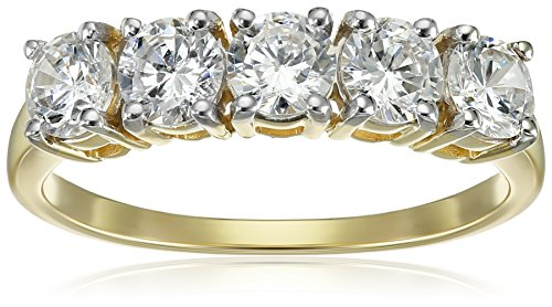 10K Yellow Gold 5 Stone Ring Made with Swarovski Zirconia (1 cttw), Size 7 (Anniversary Rings Yellow Gold compare prices)