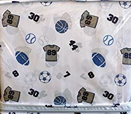 Authentic Kids 3 Piece Twin Sheet Set Sports Gray Shirts, Balls, Numbers on White