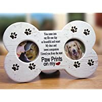 Dog Memorial Frame -- Dog Bone Shaped Double Picture Frame - Paw Prints on My Heart Poem Is Printed on a Light Tan Background with Brown Paw Print Decorations - Makes a Great Pet Remembrance Gift, Loss of a Dog, Dog Memorial -- 9 X 5.5 Inch