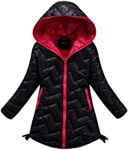 Dolpind Girls Winter Jacket Coat with Hooded Zipper Up Down Puffer Jacket