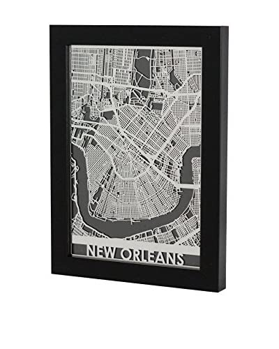 Cut Maps Framed Stainless Steel New Orleans Map