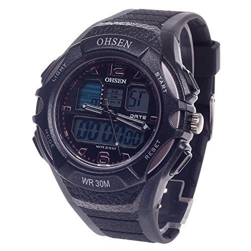 Peleustech® Ohsen Ad1301 Waterproof Dual Time Quartz Analog Digital Alarm Clock Sport Wrist Watch