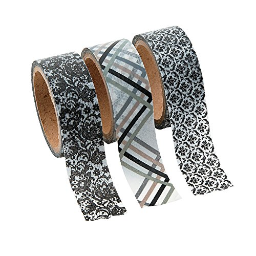 Black & White Flourish Washi Tape Set - 16 Ft. Of Tape Per Roll (3 Rolls Per Unit) - 1