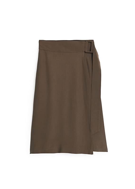 Mango Women's Premium Cupro Buckled Skirt