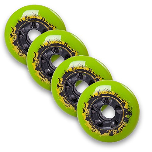 Durable Pu Inline Roller Skates Replacement Wheels 80mm Green
