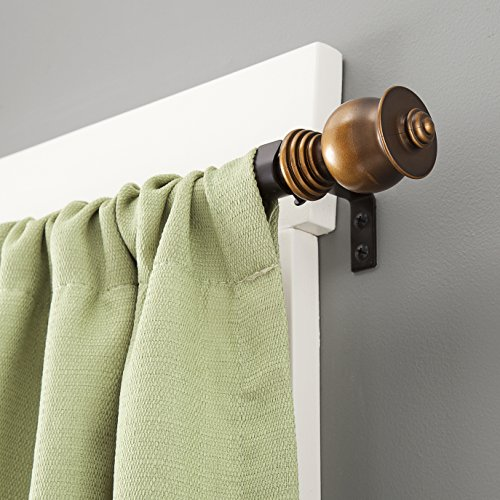 Kenney Parker Oil Rubbed Window Curtain Rod, 48 to 86-Inch, Bronze