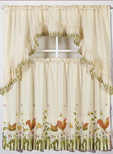 GorgeousHomeLinenDifferent Cottage Designs 3 Piece Kitchen Window Ruffle Rod 2 Tier Curtains 1 Swag Valance Set (BEIGE ROOSTER-1) (Kitchen Curtains With Roosters compare prices)