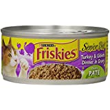 Friskies Wet Cat Food, Classic Pate, Senior Diet, Turkey & Giblet Dinner in Gravy, 5.5-Ounce Can, Pack of 24