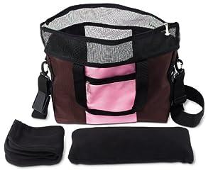 Doggles Dog Carrier Denier Messenger Bag, Small, Pink Dog Carrier