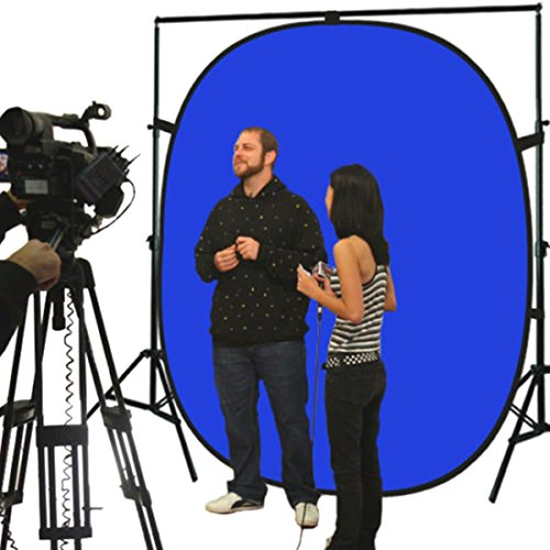 Lightweight Reversible Popup Blue Green Screen Background Panel 5x7ft New (Red Wagon Tutorials compare prices)