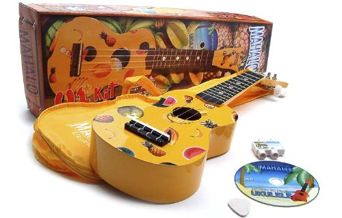 Yellow Ukulele Starter Kit: Ukulele (Uke) plus Tuition DVD, Bag and Felt Pick