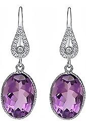 10.00 Ct Genuine Purple Amethyst 10x14mm Oval Shape 925 Silver Dangle Earrings