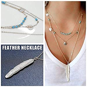 Finrezio 12 PCS Silver Plated Layered Necklace for Women Girls Sexy Long Choker Chain Y Necklace Bar Feather Pendent Necklace Sets (Color: B: Silver Tone)